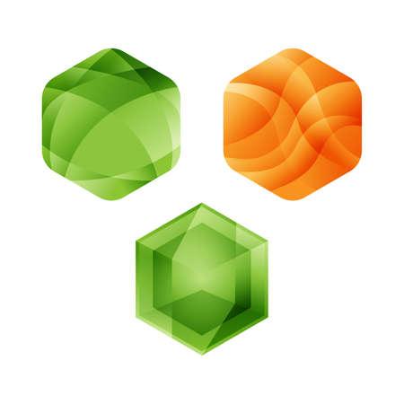 Various Hexagon - Branding hexagon vector logo concept illustration. Hexagon geometric polygonal logo. Hexagon abstract logo. Vector logo template. Design element.