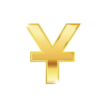 Golden yuan symbol isolated web vector icon. Euro trendy 3d style vector icon. Golden yuan currency sign.