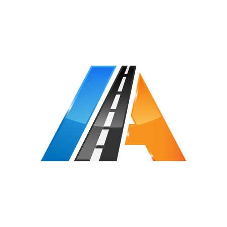 letter A road construction creative symbol layout. Paving logo design concept. Asphalt repair company sign idea