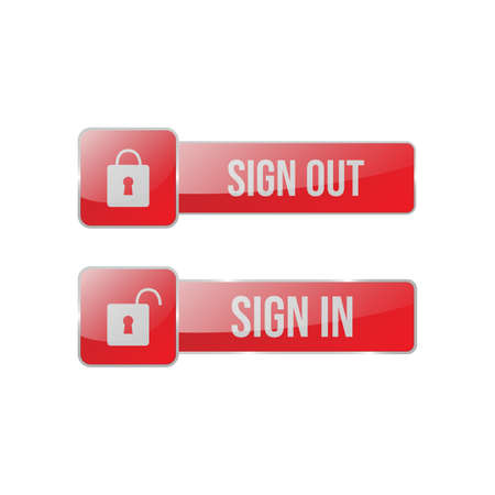 Sign in and sign out button vector for web. 3d glossy button for web Illustration
