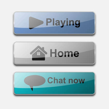 3D glossy action web button vector design. Playing, home, Chat now button for website Illustration