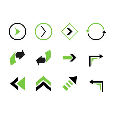Set colorful vector arrows elements design illustration. Color vector arrow Иллюстрация