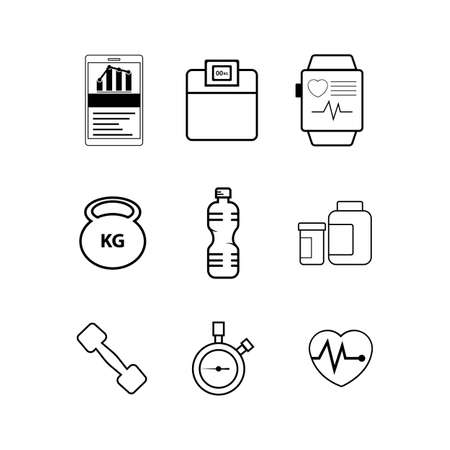 Simple Set of Fitness Related Vector Line Icons. Contains such Icons as Workout, Sleep, Diet Plan, Sport Supplements, Nutrition and more. Editable Stroke
