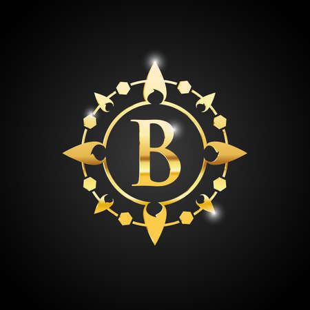 Luxury B letter and gold logo. Vector letter emblem B for Antique Restaurant Cafe Boutique Hotel Heraldic Jewelry