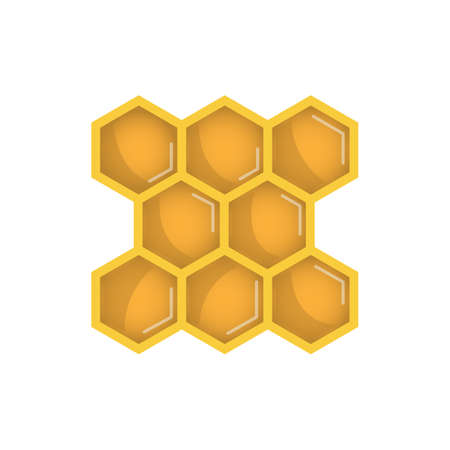 Honeycomb icon for web, mobile and infographics. Hand drawn honeycomb and bee icon. Honeycomb and bee vector icon. Honeycomb icon isolated on white background. Illustration