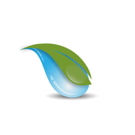Clean water and a leaf on top of it vector illustration. Water logo design vector Illustration