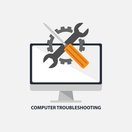 Computer troubleshooting services flat design vector illustration