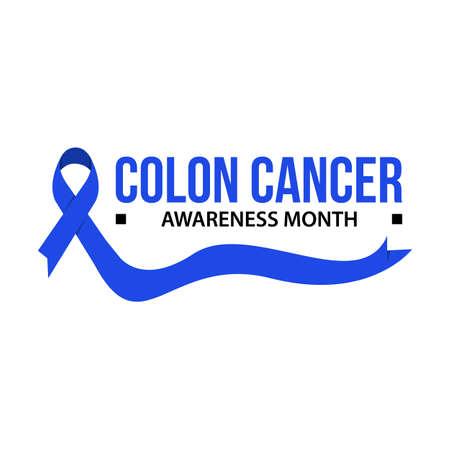 Colon cancer awareness vector illustration. Awareness month ribbon cancer Illustration