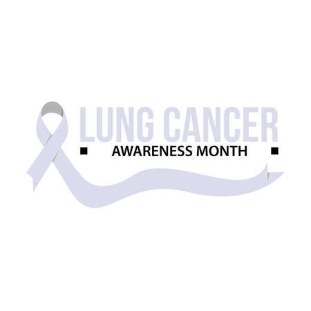 Awareness month ribbon cancer. Lung cancer awareness vector illustration