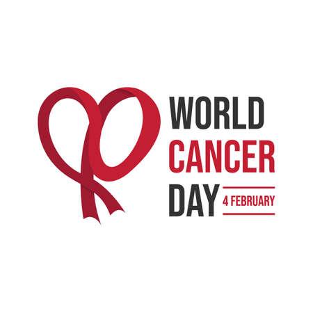 World cancer day concept on white background. World awareness ribbon of cancer Illustration