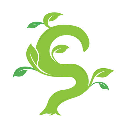 S letter ecology nature element vector icon. Lettering icon vector logo design