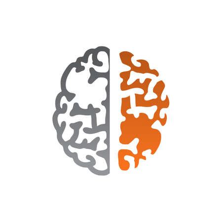 Human brain vector design with two tone color