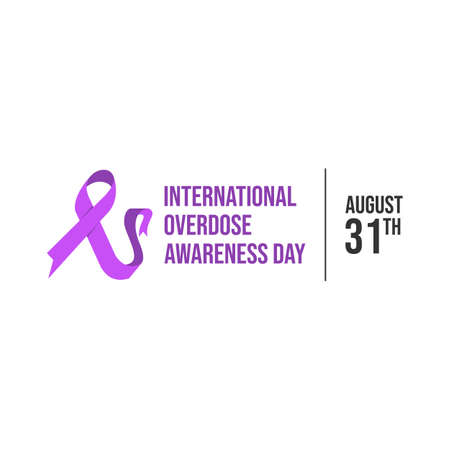 Drug overdose awareness day purple ribbon vector. International overdose awareness day vector banner design