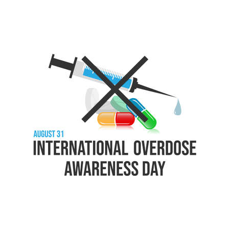 Drug awareness and prevention day. Drug overdose awareness day vector design image illustration Imagens - 129898507