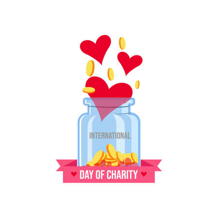 International donations on the international day of charity vector banner and poster image Иллюстрация