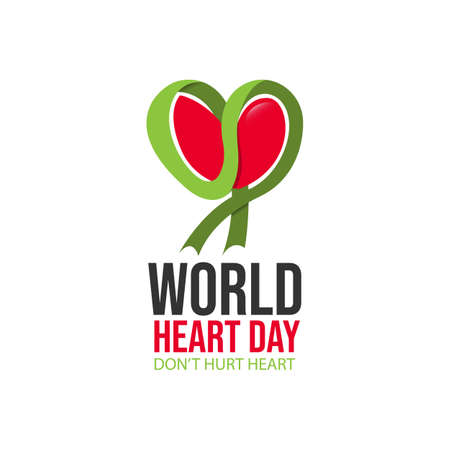 Creative concept of world heart day vector image. World Heart Day ribbon icon design. Awareness health care concept Stockfoto - 129902153
