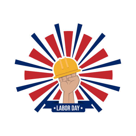 Happy labor day vector label with hand and safety helmet isolated on white background Ilustração Vetorial