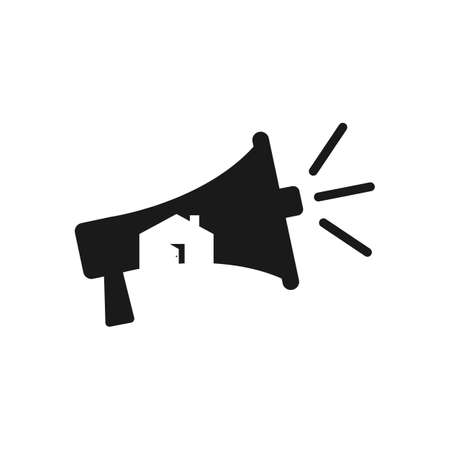 House and megaphone marketing logo with negative space style design vector Çizim
