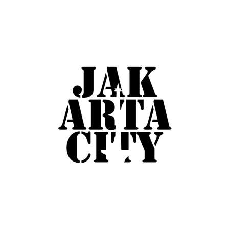 Jakarta city lettering typography with national monument in negative space style design vector