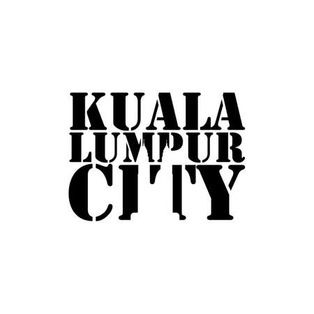 Kuala lumpur city lettering typography with petronas tower in negative space style design vector