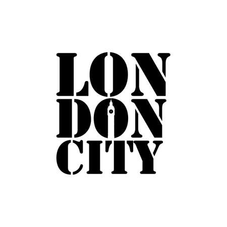 London city lettering typography with Big ben clock in negative space style design vector Çizim