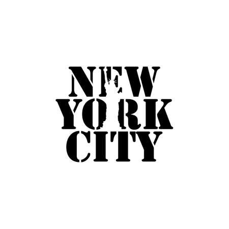 New York city lettering typography with Big ben clock in negative space style design vector