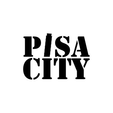 Pisa city lettering typography with pisa tower in negative space style design vector Ilustração
