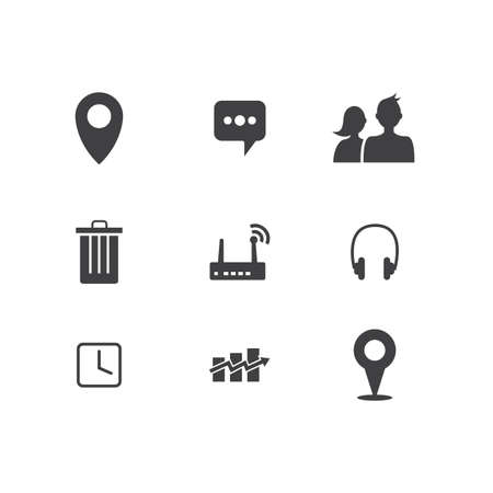 website element icons for web design. Modern website elements icon set. Vector file in layers for easy editing Illustration