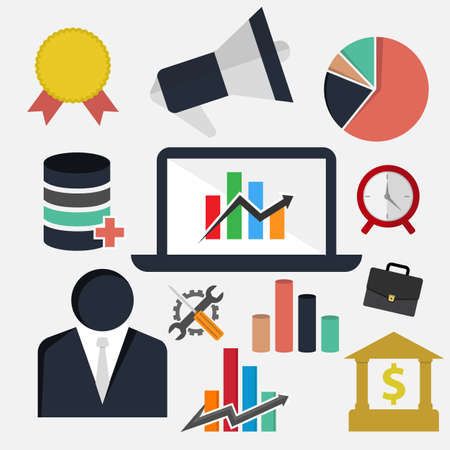 Flat business finance elements set vector image. Various icon elements of business finance theme flat design