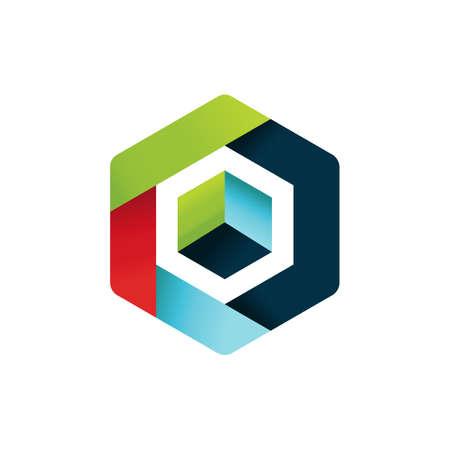 Hexagon Vector logo concept illustration. Hexagon geometric polygonal logo. Hexagon abstract logo. Vector logo template. Design element Ilustrace