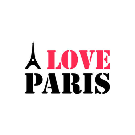 Paris hand drawn vector lettering and Eiffel Tower. Modern calligraphy brush lettering. Paris ink lettering. Design element for cards, banners, flyers, Paris lettering isolated on white background Archivio Fotografico - 133734559
