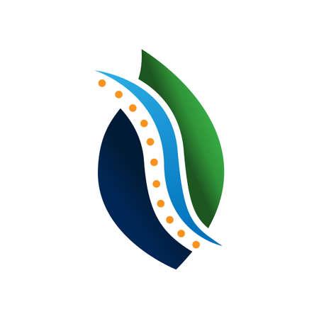 Nature Spine logo design concept vector. Chiropractic logo template. Medical Spine Leaf Logo vector design Illustration