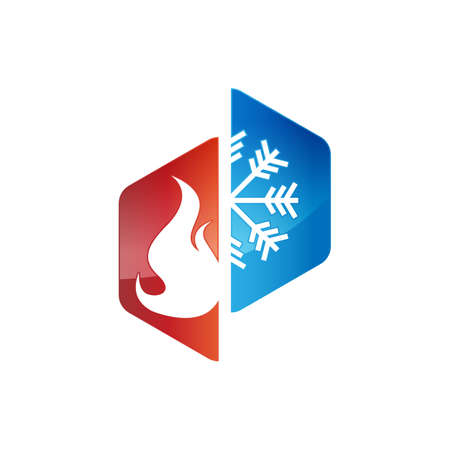 Heating and cooling logos. Abstract heating and cooling hvac logo design vector image