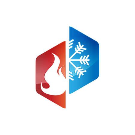 Heiz- und Kühllogos. Abstraktes Vektorbild für das Design von Heizungs- und Kühlungs-HVAC-Logos Logo