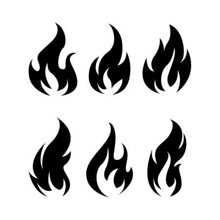 Black fire icons set vector image. Fire flame icon, black icon isolated on white background Illusztráció