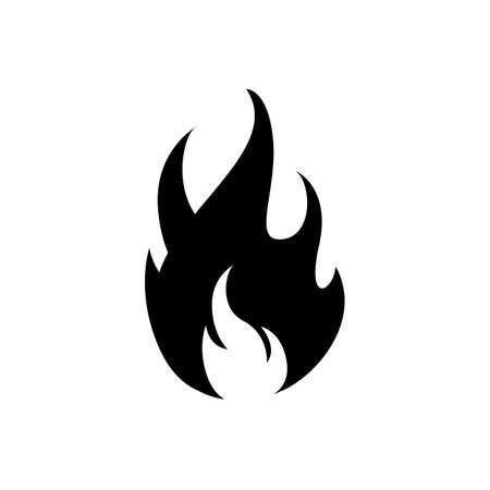 Fire icon black on white vector image. Fire flame icon, black icon isolated on white background Illusztráció