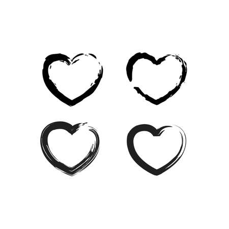 Brush Stroke Grunge Hearts Vector Set. Cute Black Heart Icons Collection isolated on White. Love Symbol Vector Template 写真素材 - 133820482