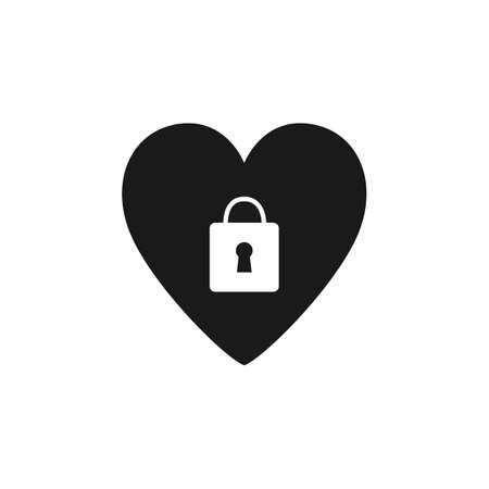 Black heart with padlock icon on white background black heart vector image Ilustrace