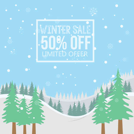50 percent winter sale background. Winter sale landscape background with snowballs and snow
