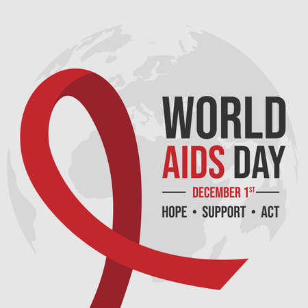 World AIDS Day 1st December World Aids Day hiv vector image. World aids day background with red ribbon in flat design Vector