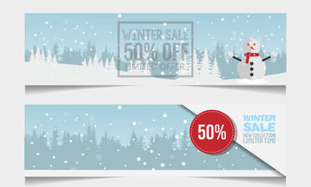 Set of winter sale banner vectors. Winter sale vector banner design with white snowflakes elements and winter sale text in snow pattern background for shopping promotion