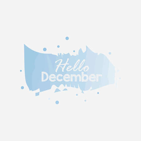 Hello December vector lettering illustration. Perfect for logos, emblems, invitation, greeting card, t-shirt, prints and posters. Hand drawn winter inspiration phrase