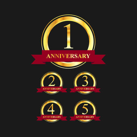 1 to 5 year anniversary gold label vector image. Golden anniversary label vector logo design set