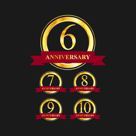 6 to 10 year anniversary gold label vector image. Golden anniversary label vector logo design set Ilustrace