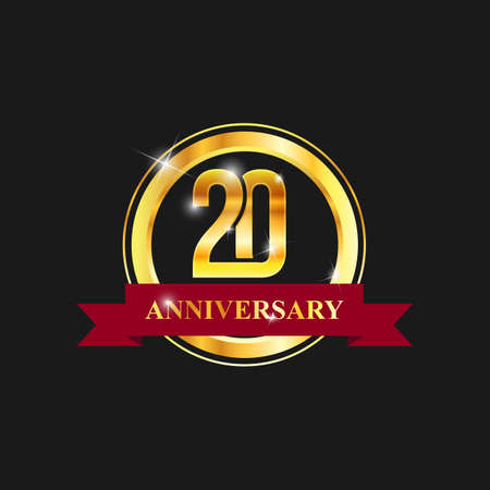 20 year anniversary gold label vector image. Golden anniversary label vector logo design