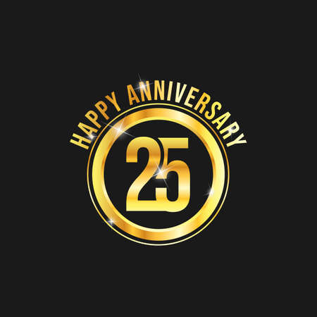 25 year anniversary gold label vector image. Golden anniversary label vector logo design Ilustrace