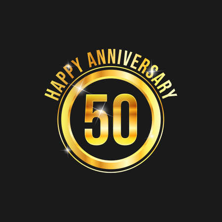 50 year anniversary gold label vector image. Golden anniversary label vector logo design