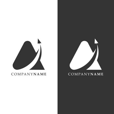 Simple letter A logo with paper airplane and negative space design vector. Lettermark traveling logo design vector