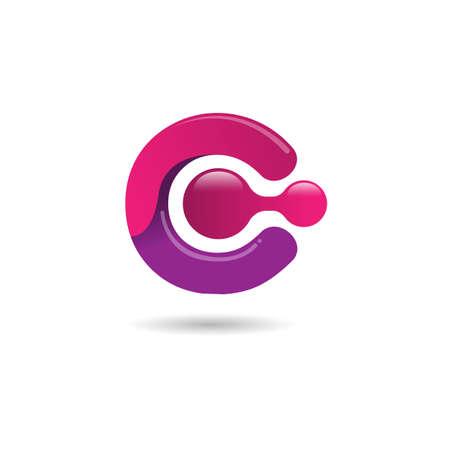 Letter C gradient color technology logo design vector illustration. C lettermark tech design corporate template logo