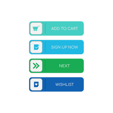 Web buttons flat design. Web and ui application color button icon for modern website. Buttons set with different actions. Vector icons isolated on white background Ilustrace